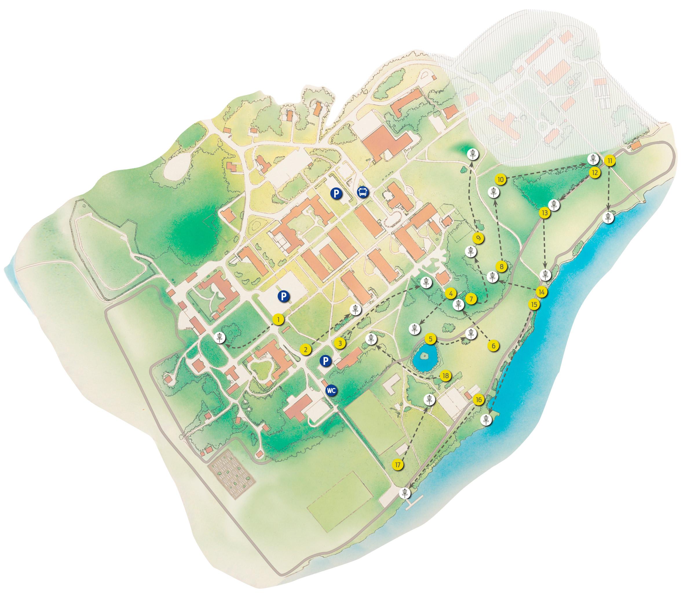 Karta over Discgolf, Restad